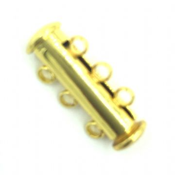 4 x 3 Strand Magnetic Sliding Clasps Gold Plated 163208039